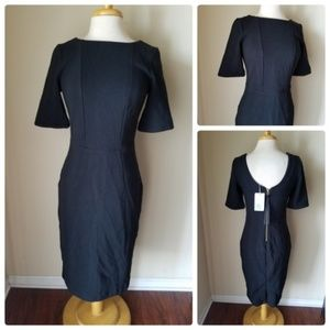 NWT Boden Black Ribbed Knit Scoop Cocktail Dress